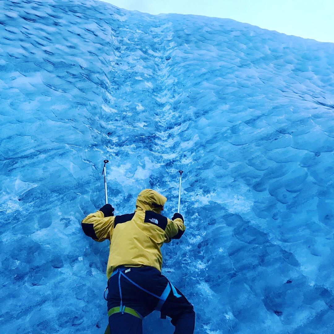 Ice climbing, Solheimajokull glacier